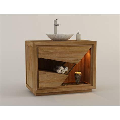 Meuble Salle De Bain Teck Design by Meuble De Salle De Bain En Teck Pour 1 Vasque Siberut