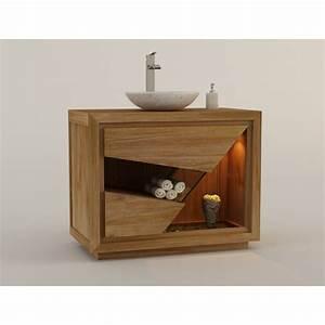 meuble de salle de bain en teck pour 1 vasque siberut With meuble salle de bain simple vasque bois