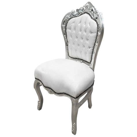 chaise simili cuir blanc chaise de style baroque rococo simili cuir blanc et bois