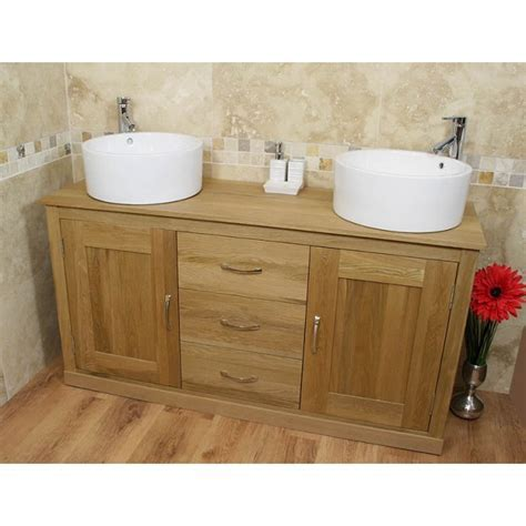 Light Oak Furniture Large Ceramic Bathroom Sink Unit