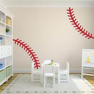 Wall decal nice baseball stitches wall decal how to paint for Nice baseball stitches wall decal