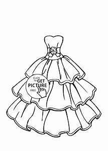 marriage coloring pages - wedding dress beautiful coloring page for girls printable