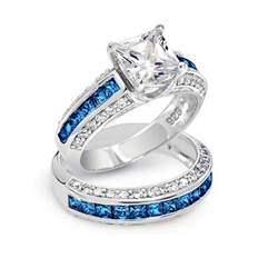 princess wedding rings blue wedding ring sets blue engagement rings princess cut jewelry gallery