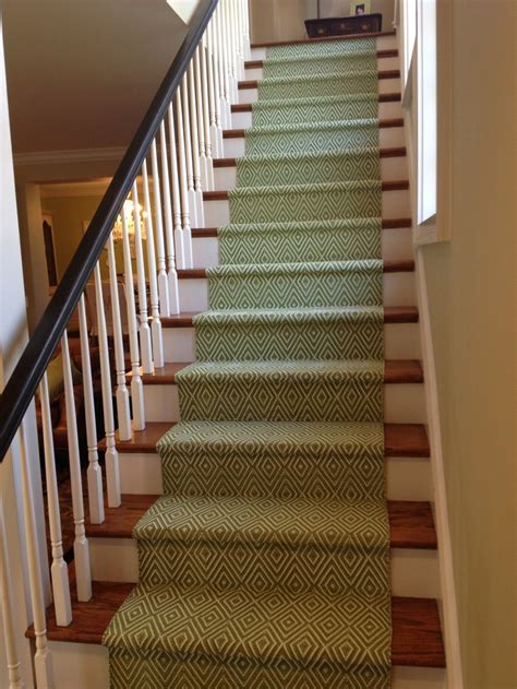 stair runners my new dash and albert stair runner on my back stairs diamond pattern sprout green it has