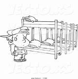 Coloring Bed Camp Bunk Cartoon Outline Canopy Summer Template Beds Sketch Boy sketch template