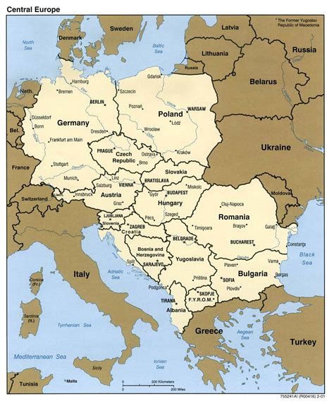 Central Europe political map 2001 - Full size