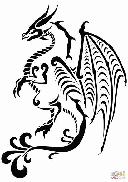 Coloring Tattoo Dragon Tattoos Clipart Svg Pages