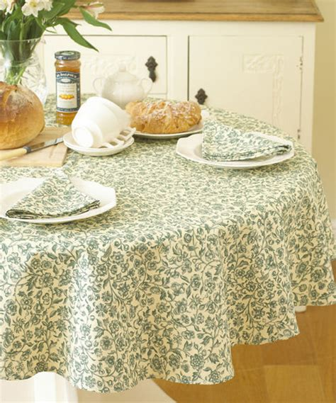william morris merton green 58 quot 147cm round cotton floral tablecloth tablecloths laura s