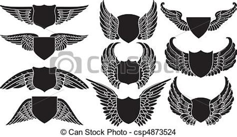 Print Your Own Badge Buddies Getting Started Eps Vector Of Shields With Wings Create Your Own Logo