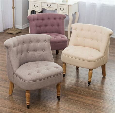 Bedroom Accent Chair Armchair Occasional Button Back Linen