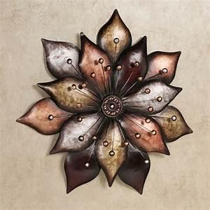 arris layered floret metal wall art With metallic wall art