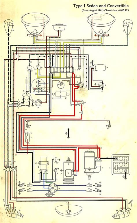 Volkswagen Wiring For 1969 by Wiring Diagram In Color 1964 Vw Bug Beetle Convertible