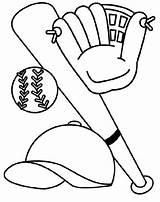 Baseball Coloring Hat Glove Bat Clipart sketch template