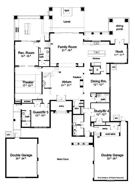 Mediterranean Style House Plan - 5 Beds 6 Baths 5552 Sq/Ft