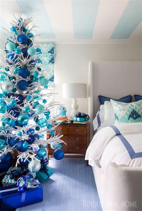 blue christmas traditional home