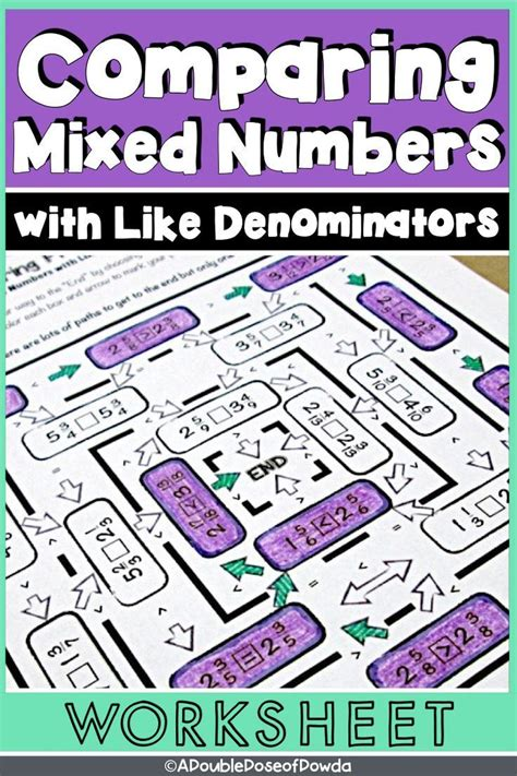 comparing mixed numbers   denominators worksheet