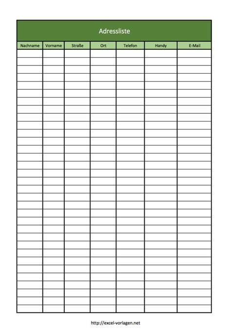 Blanko tabellen zum ausdruckenm : Adressenliste und Adressbuch als Excel-Vorlage   Excel ...