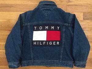 VTG Tommy Hilfiger Denim Blue Jean Jacket Huge Logo On Back Youth SZ 6 Flag