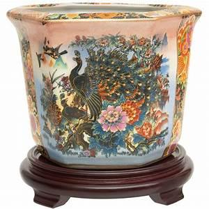 Oriental, Furniture, 10, U0026quot, Satsuma, Garden, U0026, Peacock, Porcelain, Flower, Pot, -, Walmart, Com