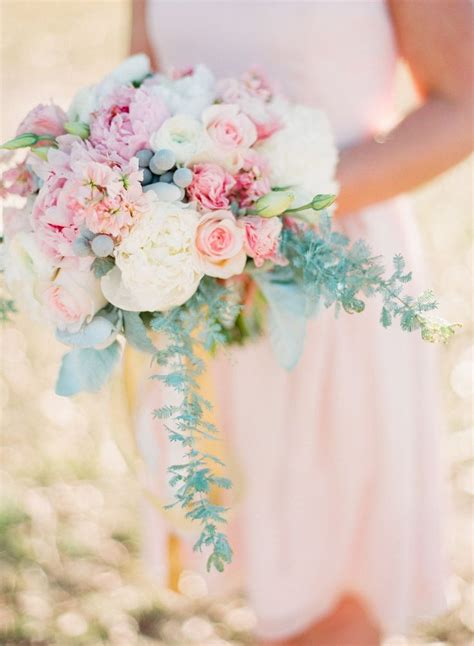 Blush And Mint Wedding Bouquet Here Comes The Bride
