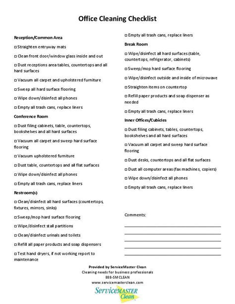office cleaning checklist printable image servicemaster