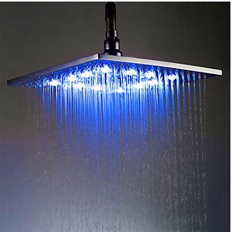 rain shower head with lights polished chrome abs led light rainfall shower head square