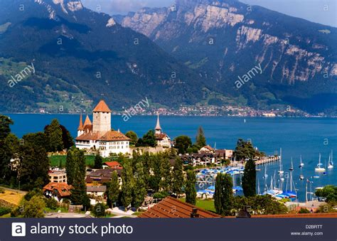 Village Of Spiez On Lake Thun In Swiss Alps Near
