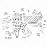 Coloring Winter Sports Playing Hockey Cartoon Outline Boy Playground Children sketch template