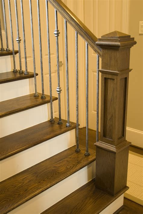 craftsman style stair railing this staircase uses high quality wrought iron balusters to 6253