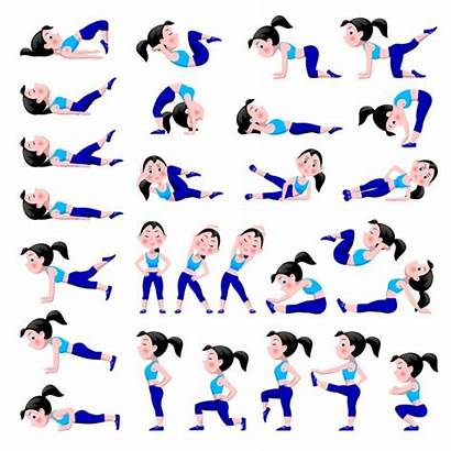 Cartoon Fitness Exercises Doing Suit Poses Isolated