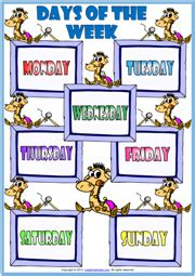 days   week  english worksheet  bruin blog