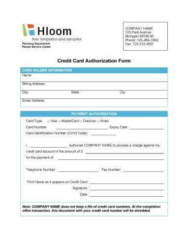 credit card authorization form template australia