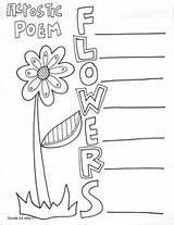 Acrostic Poetry Poem Poems Coloring Pages End Classroom Printable Printables Writing Templates Flower Classroomdoodles Flowers Doodles Summer Books Template Word sketch template
