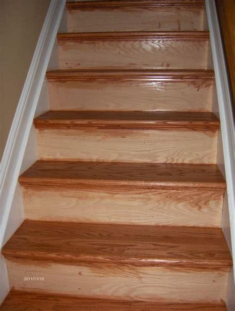new oak stair treads installed pine treads we
