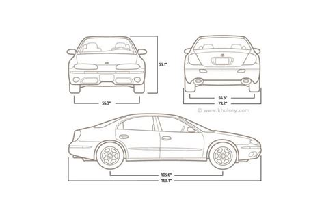 typical width of car automotive line drawings