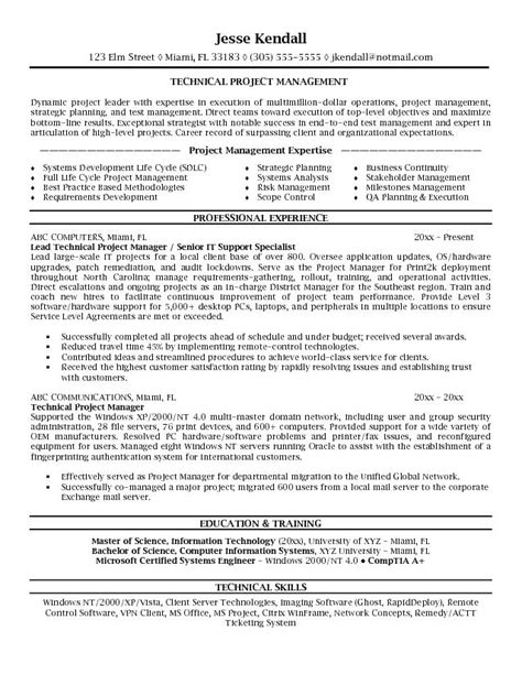 It Project Manager Resume Writing Service by Exle Technical Project Manager Resume Sle