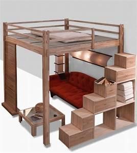 Lit deux places superpose for Lit mezzanine 2 places avec rangement