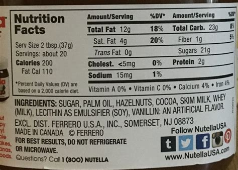 what are the ingredientsin plantabbs prolong i nutella s nutrition information to see if it s healthy