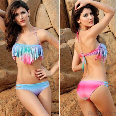 evehewson sexy hot sexy colorful gradient tassel bikini bikinis