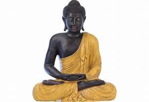 Statue De Bouddha : statue bicolore de bouddha assis pour le jardin koh deco ~ Teatrodelosmanantiales.com Idées de Décoration