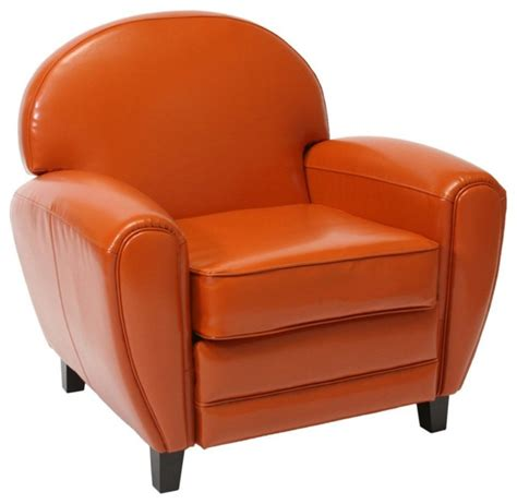 burnt orange leather cigar chair