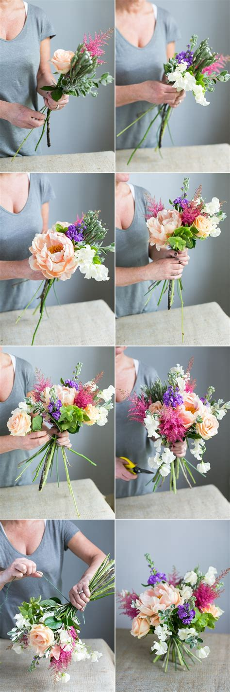 how to make an arrangement of flowers diy spring bouquet tutorial with peonies