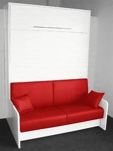 Canape Lit 160 : armoire lit escamotable space sofa chene blanc canape integre rouge couchage 160 20 200 cm ~ Teatrodelosmanantiales.com Idées de Décoration
