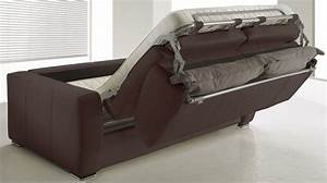 canape lit rapido en cuir marron 3 places convertible With canapé convertible pas cher 3 places