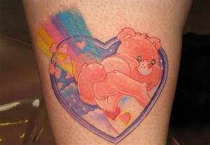 Rainbow Stomach Care Bear Tattoo Photo | Tattooshunter.com