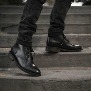 Handmade Men Leather Boots Black Ankle Mens