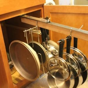 Traditional Kitchen with Pull out Rack Hanging Pots Pans