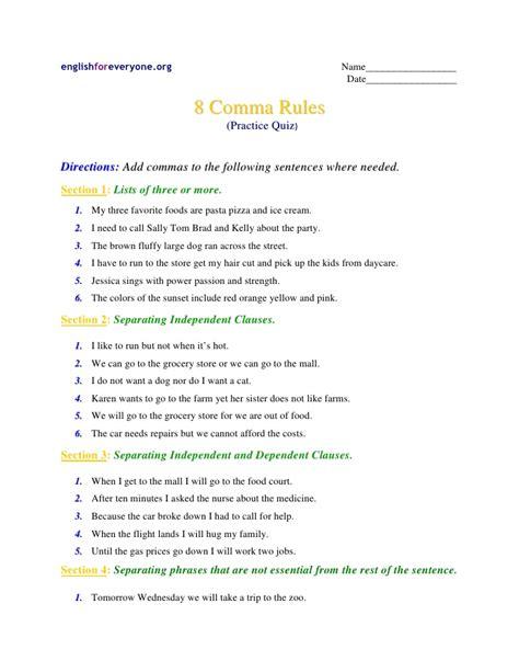 Commas Practice Quiz