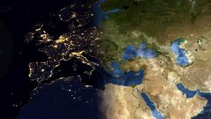 Sunrise Over Europe. The European States From Space. Clip ...