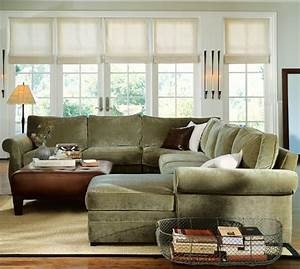 Quick ship pearce upholstered 4 piece chaise sectional for Small sectional sofa pottery barn